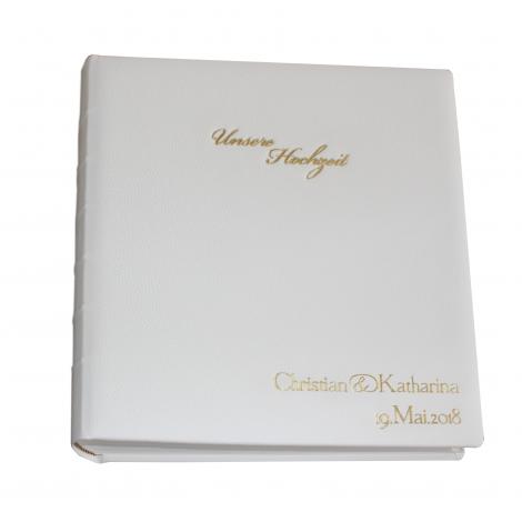 Hochzeitsalbum mit Namensprägung im hochwertigen Ledereinband