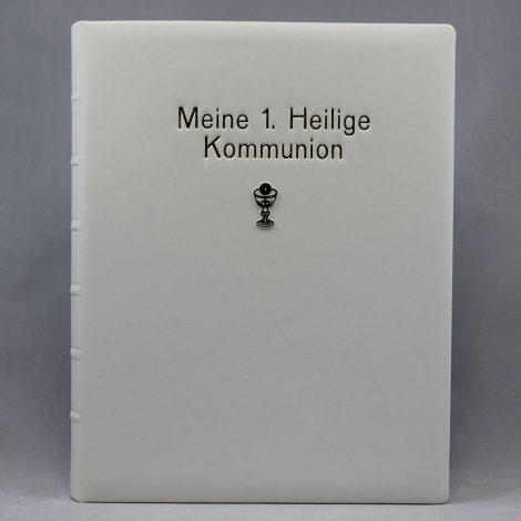 """""""Meine 1. Heilige Kommunion"""" mit Namensprägung, aus hochwertigem italienischem Kunstleder"""