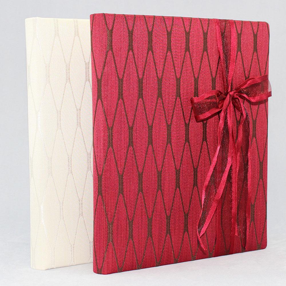 gaestebuecher-stoff-milano-rot oder weiß- Buchbinderei Vera Donna