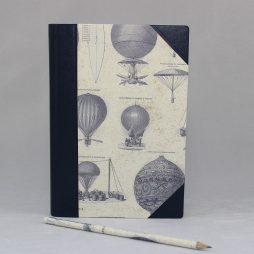 """Notizbuch """"Aereonautica"""" Halbleder – mit Luftfahrtzeugen im Vintagedesign gestaltetes Notizbuch mit Lederelementen"""