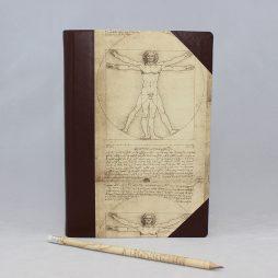 "Notizbuch ""Leonardo Da Vinci"" Halbleder – mit Lederelementen versehenes Vintage Notizbuch mit Leonardo Da Vinci Motiv"