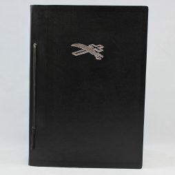 Kondolenzbuch aus Vollrindleder – mit Lederriemchen gebunden, Seiten entnehmbar