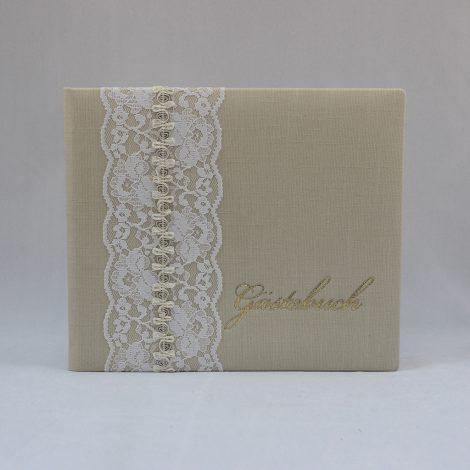 Gästebuch Vintage mit Spitzenband