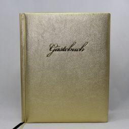 "Gästebuch ""Gold "" groß – Gästebuch aus goldenem Kunstleder mit Prägung ""Gästebuch"""