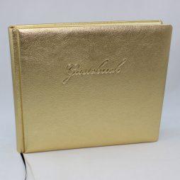 "Gästebuch ""Gold "" quer – Gästebuch im Querformat aus goldenem Kunstleder"