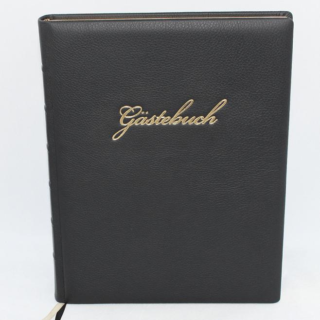 Gaestebuch Leder mit Goldschnittblock Buchbinderei Vera-Donna