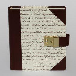 Tagebuch Scrittura mit Schloss in braunem Leder