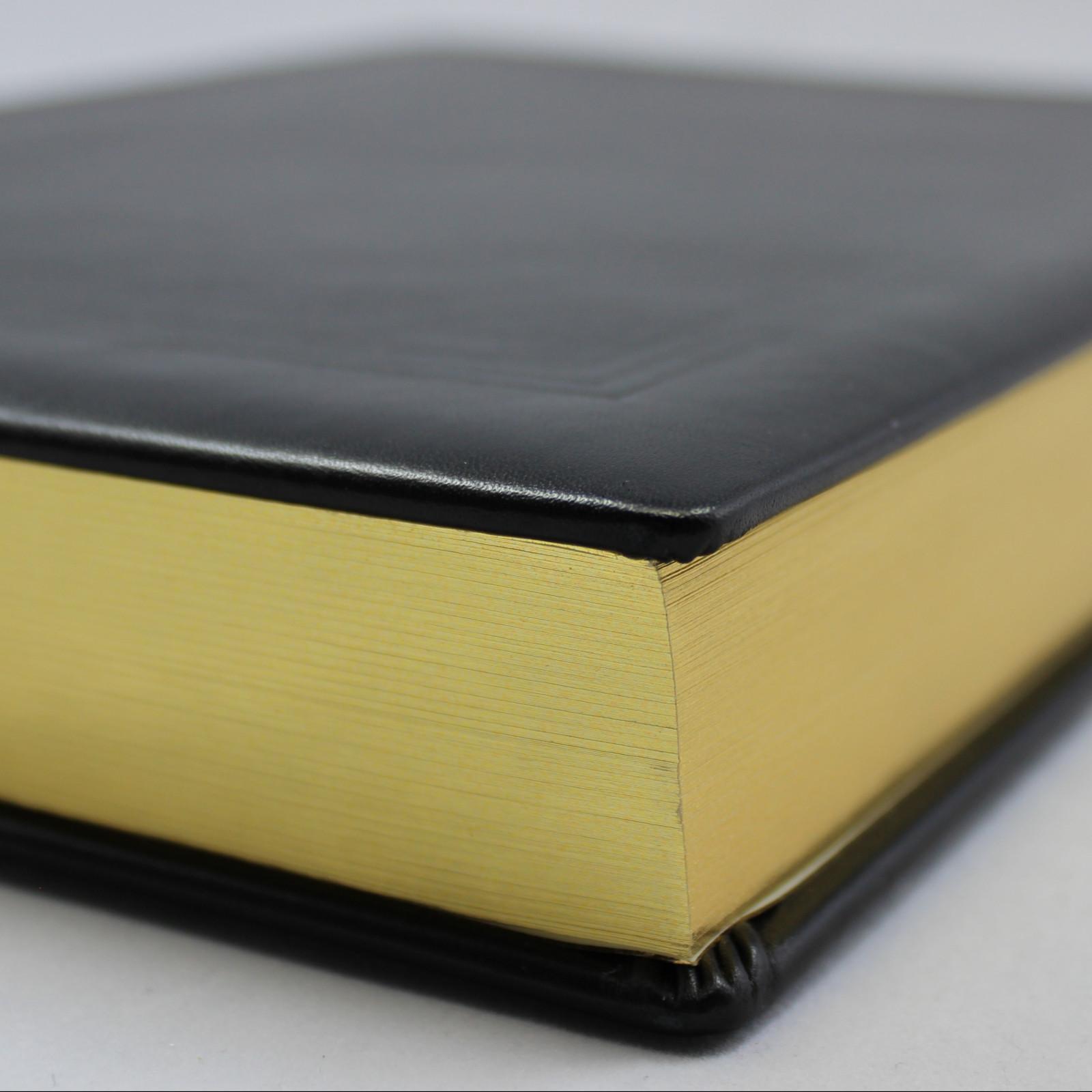 Gästebuch dick schwarz Vollrindleder mit Goldschnittblock