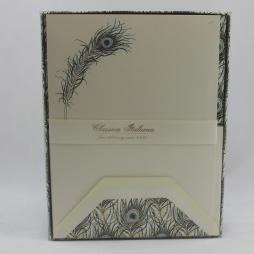Geschenkbox Briefpapier Pfauenfeder