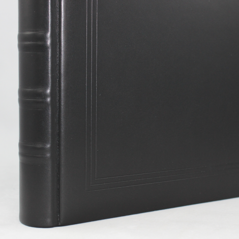 Gästebuch dick schwarz Vollrindleder handgerissener Büttenblock mit Bünden