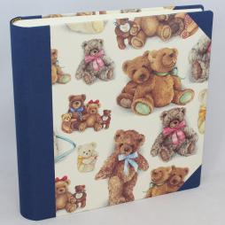 Kinderalbum Bärenfamilie Leinen blau