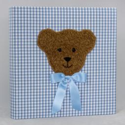 Kinderalbum Karo mit Teddy in Blau, Rosa, Lila oder Braun