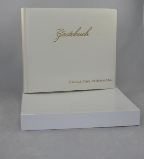 Foto-Gästebuch Zeus aus weißem Vollrindleder