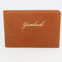 Gästebuch Nubuk Leder quer mit Goldschnittblock