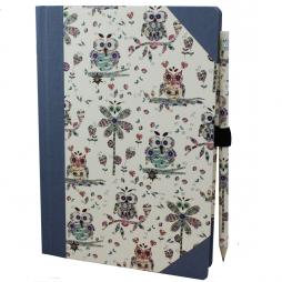 Notizbuch Uhu blau mit Stifthalter