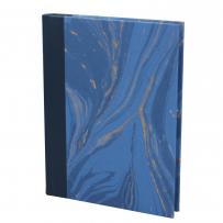 Notizbuch Marmoreffekt mit Stifthalter in blau