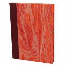 Notizbuch Marmoreffekt mit Stifthalter in weinrot