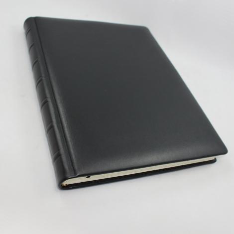 Kondolenzbuch in Leder schwarz mit Trauerrand – Einschreibbuch für die Trauerfeier