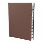 Pultordner mit Register 1-12 aus genarbtem Vollrindleder Braun