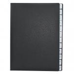 Pultordner mit Register 1-12 aus genarbtem Vollrindleder in Schwarz