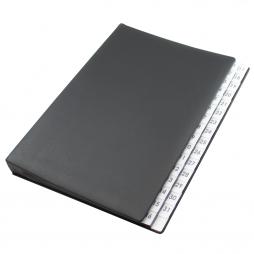 Pultordner mit Register 1-31 aus genarbtem Vollrindleder in Schwarz