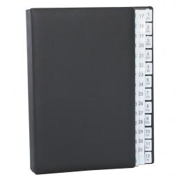 Pultordner mit Register 1-31 plus 1-12 (Jan.-Dez.) aus genarbtem Vollrindleder in Schwarz