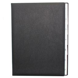 Pultordner mit Register 1-7 aus genarbtem Vollrindleder in Schwarz