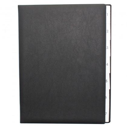 Pultordern mit Register 1-7 aus genarbtem Vollrindleder in Schwarz