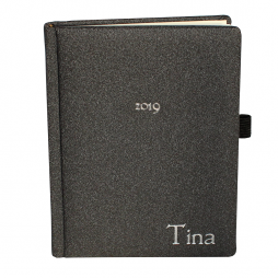 Taschenkalender Tina A6 mit silberner Namensprägung