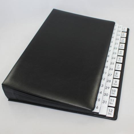 Pultordner mit Register 1-31 plus 1-12 (Jan.-Dez.) aus glattem Vollrindleder in Schwarz