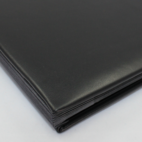 Pultordner mit Register 1-7 aus glattem Vollrindleder in Schwarz