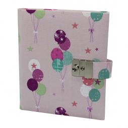 Tagebuch mit Schloss Luftballons in Rosé-Pink
