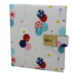 Tagebuch mit Schloss Luftballons in Beige-Blau