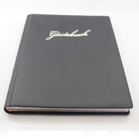 Gästebuch Leder schwarz mit Silberschnitt und Silberprägung