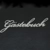 Gästebuch Leder schwarz mit Silberblock und Silberprägung