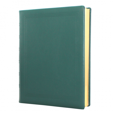 Gästebuch dick aus glattem grünem Leder mit Goldrand