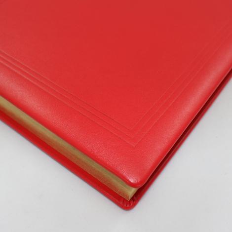 Gästebuch dick aus rotem Leder mit Goldschnittblock