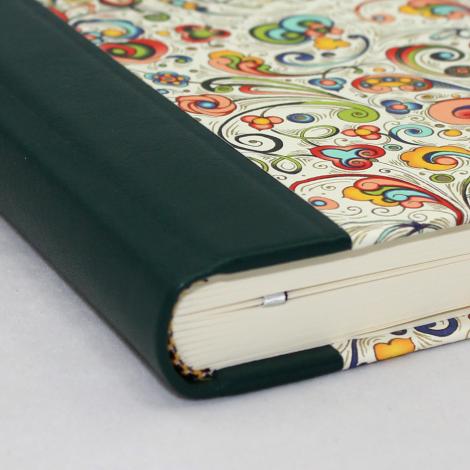Notizbuch Tempesta mit grünem Leder