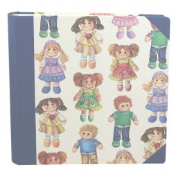 Kinderfotoalbum Bambolé blau mit Vorspann – Fotoalbum für Kinder mit süßen Puppen bedruckt