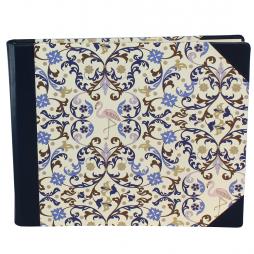Gästebuch quer Flamingo mit blauem Leder – in Blautönen gestaltetes Gästebuch mit Flamingomotiv