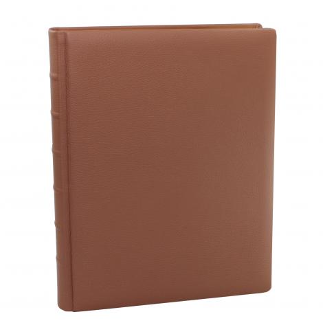 Gästebuch aus braunem genarbtem Leder mit Goldschnittblock