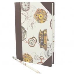 Notizbuch Time mit braunem Leder