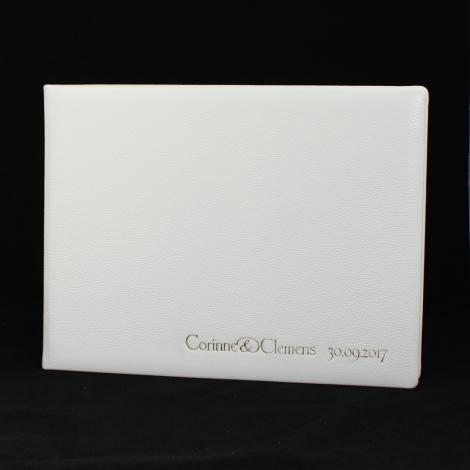Foto-Gästebuch aus weißem Leder mit individueller Prägung