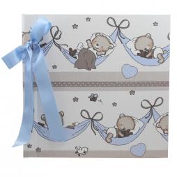 Kinderalbum Teddy blau mit Kordelbindung