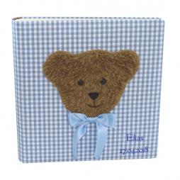 Kinderalbum Karo in blau mit Teddy und Namensprägung