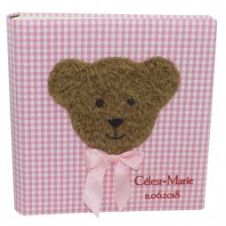 Kinderalbum Karo in rosa mit Teddy und Namensprägung