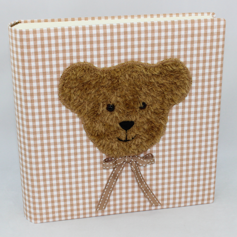 Kinderalbum Karo in braun mit Teddy