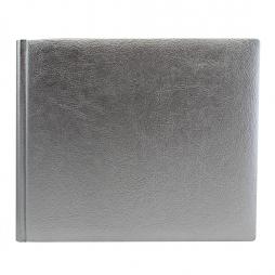 "Gästebuch ""Silber "" quer – elegantes Gästebuch im Querformat aus silbernem Kunstleder"