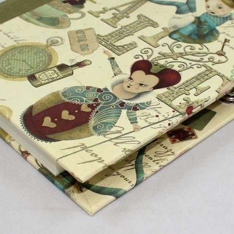 Notizbuch Alice mit integriertem Stifthalter und weinrotem Buchbinderleinen