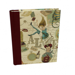 Notizbuch Alice im Wunderland mit rotem Buchbinderleinen
